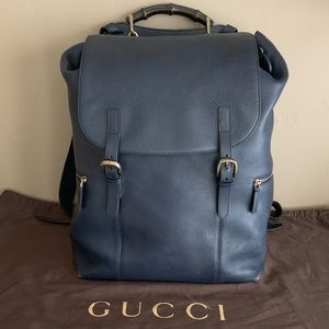 LIMITED EDITION GUCCI LEATHER BACKPACK - NAVY